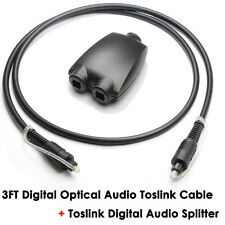 Digital Audio Optical Fiber Optic Toslink Cable + TosLink/Optical Audio Splitter