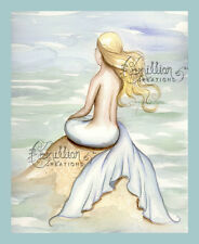 Seashore Mermaid print from Original Painting By Grimshaw fairy ocean sea beach