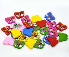 10 x 30mm Mix Colour Wooden Butterfly Beads Kids Cute Animal Insect  E17