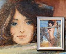 Aktgemälde: Nacktes Mädchen im Fischernetz. Vintage 70iger Jahre sign. H STETTEN