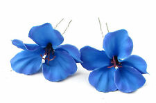 2 Blue Hibiscus Flower Hair Pins Clips Tropical Beach Bridal Wedding Hawaii 635