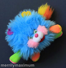 1986 Vintage Puffling Popples Plush Toy Mattel Very Clean Turquoise Blue Stuffed