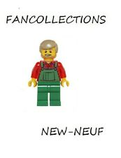 Lego-Overalls Farmer Green, Dark Tan Hair and Beard , hol067  NEUF