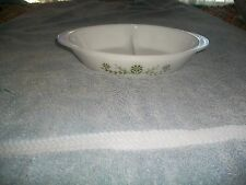 """Vintage Glasbake OVAL DIVIDED  Casserole Dish J2352 GREEN DAISY 12"""" OVAL exc!"""