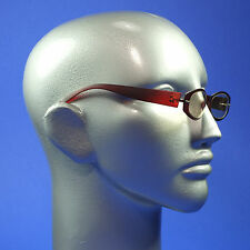 Screen Glasses Computer TV Anti Fatigue No Glare Clear Oval Matte Deep Red Frame