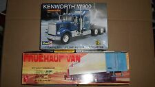 Kenworth W900 Semi Truck & Fruehauf Van Trailer Lot of 2 Model Kits 18 Wheeler