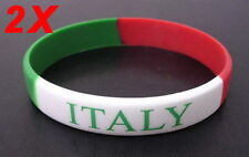 2 pcs ITALY SUPPORT TEAM OLYMPICS 2016 FOOTBALL SILICONE WRISTBANDS BRACELETS