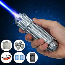 High Power Blue Laser Pointer Burning Light Beam Pen Battery Charger 5mW+ 5 Caps