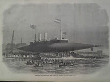 Launch Steam Yacht Ross Winans Millwall England 1866 Print Harper's Weekly