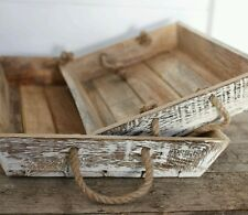 Nkuku Rustic Smooth Jarita Mango Wood Tray, Authentic Rope Handles - Shabby Chic