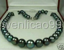 "Natural 9-10mm Tahitian Black Pearl Necklace 18"" AAA"