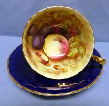 AYNSLEY SET CUP&SAUCER BONE CHINA #1034 COBALT ORCHARD FRUIT PATTERN ENGLAND