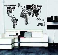 Creative DIY English Words World Map Wall Stickers Home Decor Wall Art Wallpaper