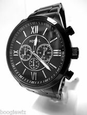 FOSSIL MEN'S  STEEL BLACK CHRONOGRAPH WATCH  BQ1127, NIB & FOSSIL TIN