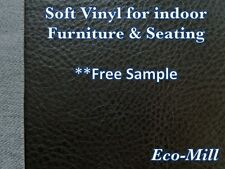 """Vinyl Austin Black Upholstery Fabric Soft Fake Leather Furniture Fabric 54""""Wide"""