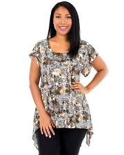 Plus Size 1X CHEETAH Brown Ivory Abstract Asym Top New BRITTANY BLACK Woman