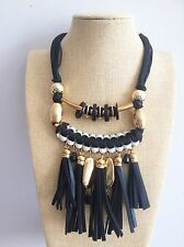 Black Leather Tassel Fringe Gold Beads Rope Bohemian Ethnic African Necklace