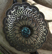 Sterling Native American signed John Lucio bolo spider turquoise Zuni tribe pawn