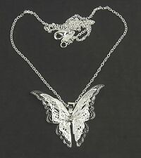 Women's 925 Silver plated Filigree Butterfly pendant necklace Jewellery