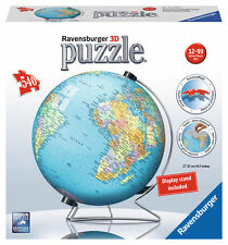 New Factory Sealed Ravensburger 3D PUZZLE 540pc Globe EARTH Jigsaw Display Stand