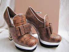 MIU MIU BY PRADA Shoes PLATEORMS HEELS SNAKE BROWN WHITE 36.5 6.5