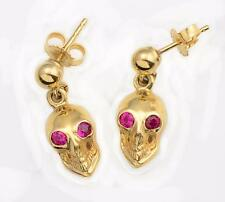 NEW SOLID 14KT Yellow Gold SKULL Earrings 3-D w/ Ruby Eyes