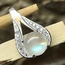 Genuine Rainbow Moonstone 925 Solid Sterling Silver Designer Pendant 20mm