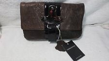 BROWN LEATHER NWT THOMAS WYLDE BAG SKULL PATENT BUCKLE CLUTCH PURSE DISTRESSED