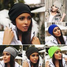 Black Women Men Knit Winter Warm Ski Crochet Slouch Hat Cap Beanie Oversized