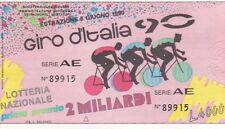 Biglietto lotteria giro d'italia del 90