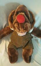 "Vtg Wrinkles 17"" Dog Plush Stuffed Animal Puppet by Ganz bros coveralls MINT"