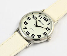 Ravel Ladies BIG Dial BIG Numbers Watch Easy Read White Face & LONG White Strap
