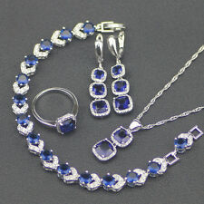 Square Blue Sapphire Sterling Silver Set Earrings, Bracelet,necklace, ring