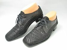 Sesto Meucci Black Woven Leather Oxford Lace-Up Flats Womens Shoes 9 S (Slim?)