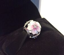 Authentic Pandora Magnolia Bloom Charm W/ Pandora HINGED BOX & TAG #792087PCZ