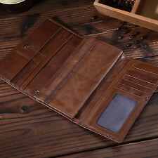 Vintage Retro Style Large Capacity Men's Genuine Leather Trifold Wallet Hand Bag