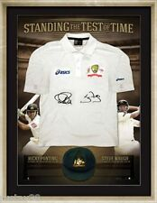 RICKY PONTING & STEVE WAUGH SIGNED FRAMED STANDING THE TEST OF TIME TEST SHIRT