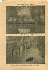 Flood Inondation Crue Seine Hall Quai d'Orsay Paris/Lille Nord 1910 ILLUSTRATION