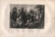 c1850 VICTORIAN PRINT ~ GENERAL BURGOYNE ADDRESSING THE INDIANS NATIVE