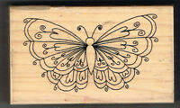 BUTTERFLY INCA STAMPS WOOD MOUNTED RUBBER STAMP - 9 x 5.5 cm approx