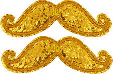 SHWINGS Gold Sparkle Mustache clip on Wings for shoes designer Shwings NEW 70102