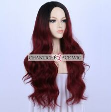 Women's Ombre Dark Roots Synthetic Long Wavy Wigs Wine Red Full Wig Heat Safe UK