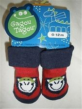 Size 0-12 Months - Gagou Tagou Baby Socks - Red & Navy with Cute Print