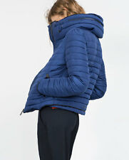 NEW ZARA  BLUE QUILTED JACKET COAT PUFFER ANORAK FUR COLLAR SIZE S UK 8