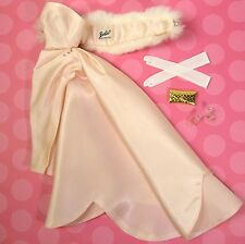 Vintage Barbie 983 Enchanted Evening Pink Gown Stole Clear Heels Gloves 1960 EUC