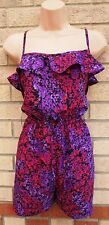 FLORENCE FRED PURPLE PINK FLORAL BLACK SILKY FEEL PLAYSUIT ALL IN ONE 16 XL