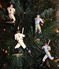 NEW YORK YANKEES CHRISTMAS ORNAMENTS SET OF 4 DIMAGGIO RUTH MANTLE GEHRIG