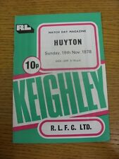19/11/1978 Rugby League Programme: Keighley v Huyton  . Condition: We aspire to