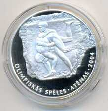 Latvia Summer Olympic Games in Athens Wrestlers Silver 1 Lats 2002 Proof