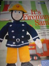VINTAGE KNITTING PATTERN  Fireman Sam toy Black & White Copy